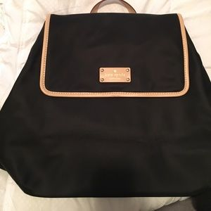 NWOT Kate Spade black backpack with tan leather